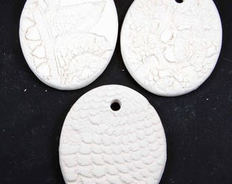 Set of 3 Stoneware Bisque Oval Ornaments