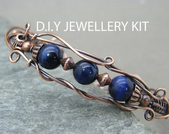 Wire wrapped jewelry kit ~ Do it yourself jewellery kit ~ Wire wrapping tutorial ~ Bracelet tutorial ~ Handmade Jewellery instructions ~