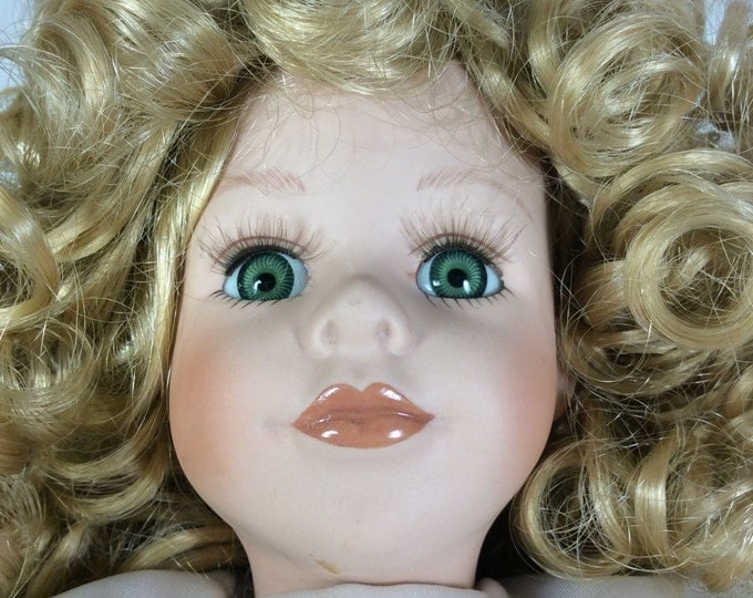 ON hold for Niki Lopes vintage doll, Collectors Choice by Dandee, beautiful blonde doll, doll collectors, blonde hair green eyed doll