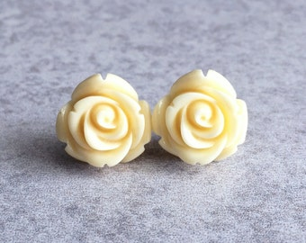 Buttercream Blooming Rose Bud Earrings - Stainless Steel Stud Posts, 15mm Resin Cabochon, Ivory, Light Yellow, Off-White, Bridesmaid Jewelry