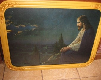 "JESUS In THE GARDEN 1920'S-1930'S Agony In The Garden Jesus Praying In Garden of Gethsemane Original Frame  28 1/2"" x 21 1/2"""