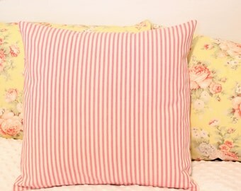 French Ticking PILLOW COVER Pink Ticking Pillow French Country Farmhouse Style [16x16]