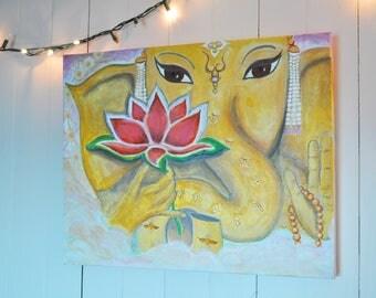 "Ganesha Painting - 20""x16"" - Original Acrylic Painting - Meditation Painting - Yoga Painting - Hindu Painting"