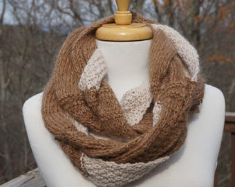 Unique Infinity Scarf Brown Scarf Twisted Scarf
