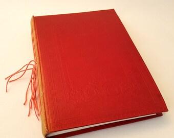 art journal, book, re-purposed book, watercolour paper, red, embossed, embossed flowers, mixed media book, vintage, vintage book