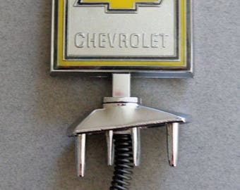 Vintage Chevy Hood Ornament part # 1610460 1970s Truck Square shape Black Yellow silver