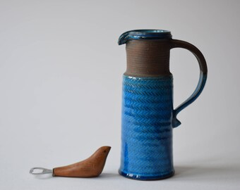 Excellent! Kähler Denmark - tall pitcher vase - turquoise & brown - HAK - Danish mid century pottery - collectible