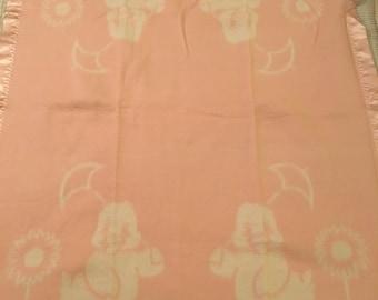Vintage Duck Baby Blanket Pink White Satin Trim 1960's
