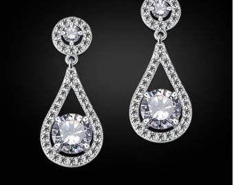 """PAIR Small Water Drop Dangles Vintage Silver Wedding Prom gauges plugs tunnels earrings 2g 0g 00g 7/16"""" 1/2"""" 6mm 8mm 10mm 11mm 12mm"""