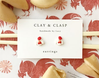 Rooster Earrings - beautiful handmade polymer clay jewellery by Clay & Clasp