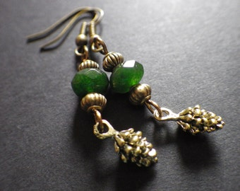 Bronze Pine Cones- Green Emeralds- Handmade Dangle Earrings- Nature- Outdoors- Woodland- Christmas- Stocking Stuffer- Gift for Her- Woman