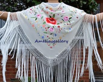 Hand Embroidered silk flamenco spanish dancewear triangle piano shawl 5 colours