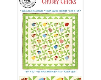 """Pattern """"Chubby Chicks"""" Applique Quilt by Black Mountain Needleworks (801) Paper Pattern"""