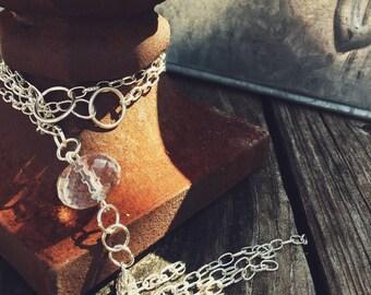 Long Tassel Clear Bead Necklace