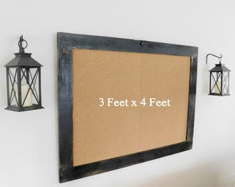 36 x 48 FRAMED BULLETIN BOARD - Cork Board - Industrial - Distressed - Shown in Black - 36 x 48 - More Colors Available