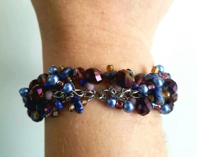 Purple Violet Blue Cluster Beaded Heart Lobster Hook Cluster Bracelet