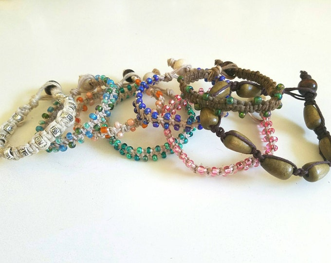 Custom Hemp Braided Beaded Bracelet