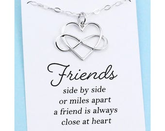 Best Friend Gift . Infinity Heart Necklace . Sterling Silver . Long Distance Friendship