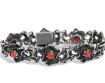 Red Coral Bracelet Antique Silver Art Deco Jewelry