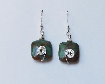 Silver Earrings with Stone Bead