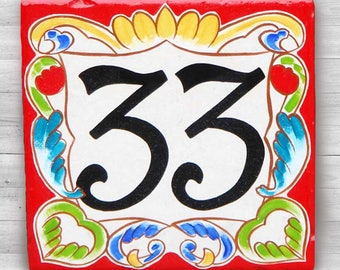 """Ceramic house numbers, house number plaque, Italian house number design. house sign, house numbers, size 8x8"""" - Milan red border. gifts"""