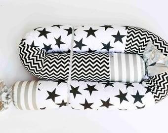 Baby Bumper Pillow, Gender Neutral Bumper, Black and White Nursery Decor, Long Soft Cotton Pillow, Kids Room Decor, Snake Bumper Pillow