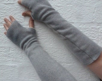 Light grey cashmere arm warmers long fingerless gloves Eco-friendly gift for her boho opera gloves winter womens accessories handcrafted.