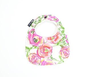 Pink Rose Baby Bib | Pink Floral Baby Bib | Girl Baby Shower Gift | Pink Rose Bib | Floral Baby Bib | Cotton Terry Cloth Bib | Baby Girl Bib