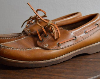 Vintage Brown Leather Boat Shoes by Montgomery Ward Size 8