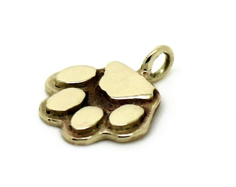 Solid 14K gold  cat paw charm  ,gold cats & dogs charm,solid 14K gold  cat pendant ,gold cat charm,cat pendant.