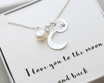 Sterling Silver Crescent Moon Necklace, Personalized I Love You To The Moon and Back Necklace, Personalized Initial Necklace, Gift for Her