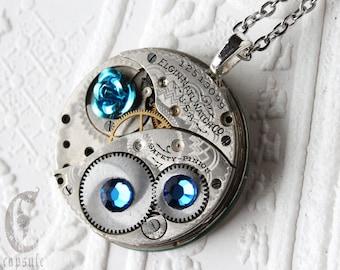 Steampunk Statement Necklace Pendant - Blue Rose Elgin Guilloche Etch Antique Pocket Watch Movement with Capri Blue Swarovski Crystals  Gift