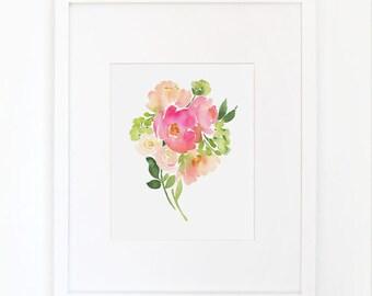 Bouquet of Pink Peonies - Watercolor Art Print