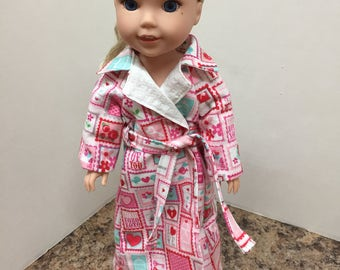 "Fully Lined Flannel Robe  for 14.5"" Doll - Boutique American Made Doll Clothing"