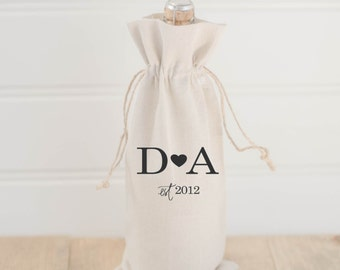 Personalized Wine Bag, 2 Initial, date, hostess or wedding gift