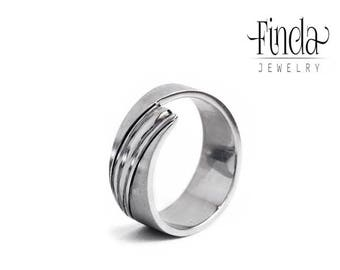 Modern style stainless steel wedding band | mans wedding ring | womans wedding band