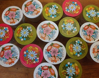 17 ~ Clear Ball Jelly Jars in Quilted Crystal ~ Push-on Caps ~ Vintage Storage ~ 1960s Flower Power ~ 8 oz Preserving Jars