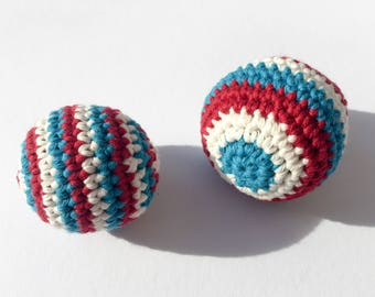 Crochet baby toy balls, set of 2 / crochet soft toy / crib toy / gift for baby / baby shower gift / cotton toy balls / crochet toy
