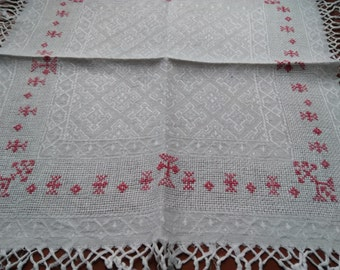 Antique Church Chalice Doily French White Damask Cotton Red Hand Embroidered  #sophieladydeparis