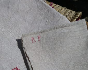 "Victorian 19th C. Hemp Bath Towel Thick Off White Hemp Red Monogram "" R P"" Rustic Woven #sophieladydeparis"
