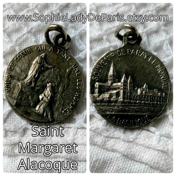 Paray le Monial Basilica Burgundy and St Magaret Alacoque Souvenir French Sterling Silver Medal Marked Karo Signed #sophieladydeparis