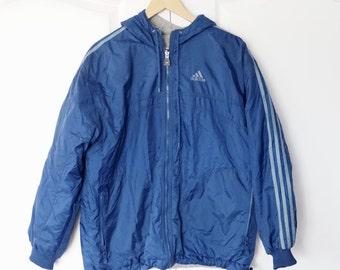 Vintage Adidas 90s reversible Jacket Size Large L Navy Blue Windbreaker White Stipes