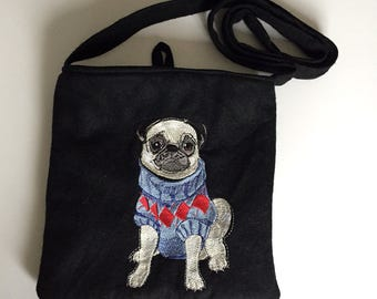 Black Embroidered Pug Over The Shoulder Bag - Lined and with internal pocket - Made in Great Britain