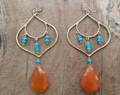 Tangerine Chalcedony Earrings | Sleeping Beauty Turquoise Earrings | Gemstone Earrings | Chandelier Earrings | Bohemian Earrings