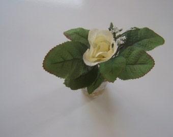 Rose #whiterose -  FLORAL ARRANGEMENT- grape etching-small vintage tumbler #floral- kitchen decor