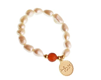 Kabbalah Bracelet/ Kabbalah Charm/ Pearl Bracelet/Cornelian Stone/Natural Stone