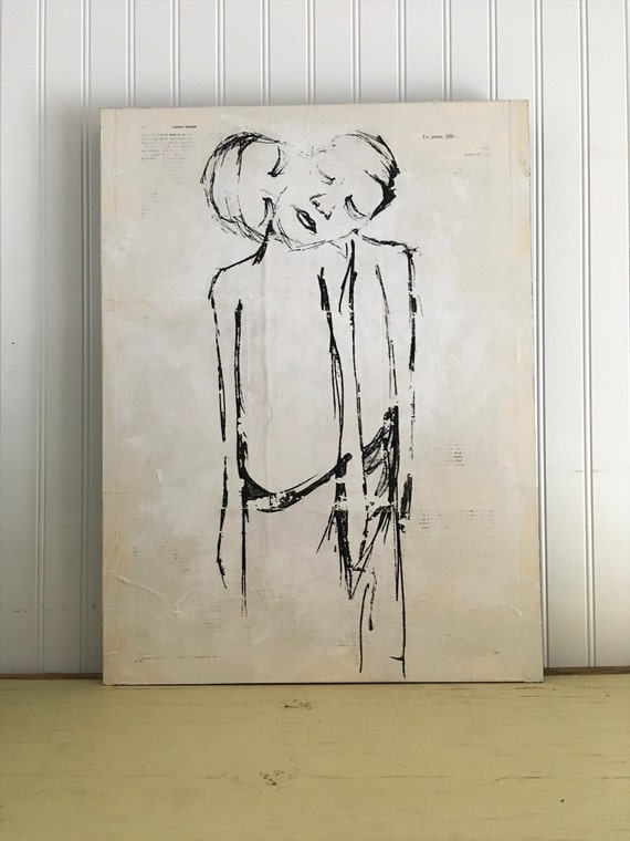 LOVE human-III/Art figurative/table/Illustration/transfer of picture/collage and acrylic with intervention of sewing on Panel wood