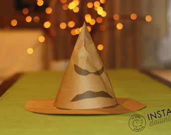 Sorting Hat, Cone Party Hats, Sorting Hats, Instant Download, DIY Paper Printable Hat
