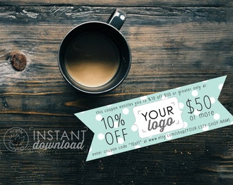 Minty Printable Coupon, Personal Coupon, Coupon Template, Coupon Code, Editable Coupon, Etsy Shop Discount, Ad Template Photoshop