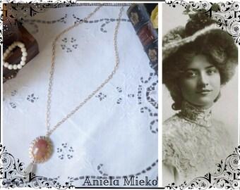 Pendant necklace, pendant necklace, pendant brooch carnelian long necklace gold, Pearl, bead drop pendant necklace vintage style